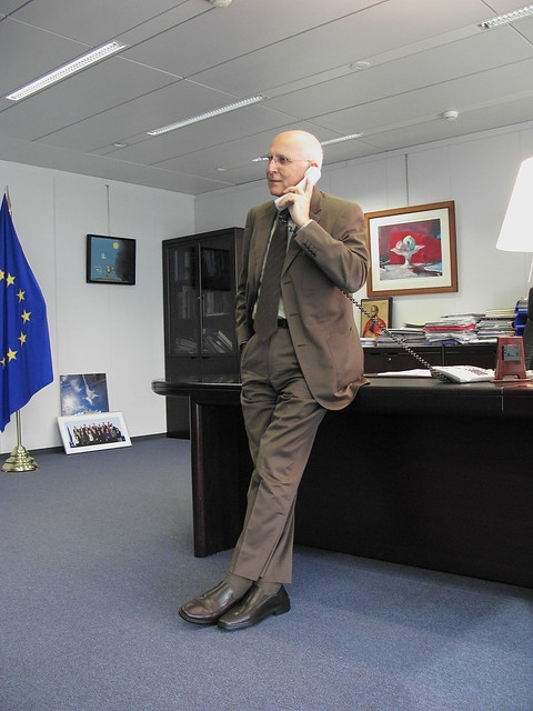 EU Commissioner Stavros Dimas accepts a Global Wake-Up Call on behalf  of the European Commission in Brussels by Avaazorg