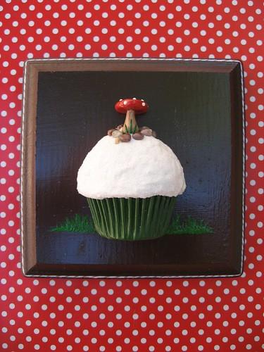 mushroom cupcake plaque
