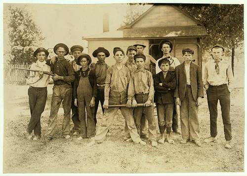 The Ball Team. Composed mainly of glass workers. Indiana. Aug. 1908. L.W.H. [Lewis Wickes Hine].  (LOC)