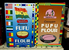 Two brands of plantain flour at an international grocery in Portland, Oregon