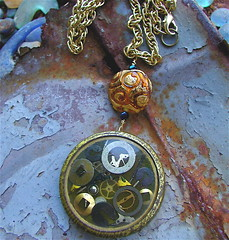 Through a Glass Darkly Steampunk Necklace III (MadArtjewelry) Tags: necklace foundobjects resin etsy topaz steampunk watchparts clockparts madartjewelry venetianglassbead antiquewatchmakerstin