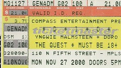 11/27/00 Dio/Yngwie Malmsteen/Doro Pesch @ Minneapolis, MN (Ticket)