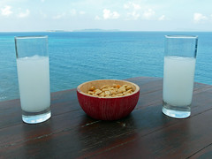 Ouzo time! (duqueros) Tags: blue sea sky stilllife glass clouds table island meer europa europe view drink turquoise hellas himmel wolken peanuts stilleben insel greece alcohol taverna blau aussicht tisch corfu korfu kerkyra griechenland alkohol ouzo glas ioniansea schnaps taverne getrnk trkis apro erdnsse ionischeinsel southeasteurope peroulades ionianisland  sdosteuropa ionischesmeer anisschnaps  duqueiros