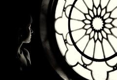 light through (bostankorkulugu) Tags: light portrait blackandwhite bw white black church window architecture turkey blackwhite alone geometry istanbul bostanci bostan bulgarian korkut rosewindow