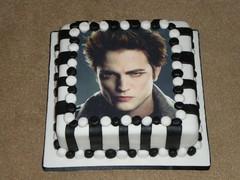 Edward Cullen cake (Mrs Duff) Tags: white black cake square photo vampire stripes balls edward icing jam sponge cullen twighlight buttercream