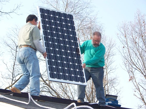 First solar panel moves into place