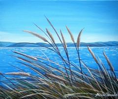 Wheat Surprise (tracy macdonald) Tags: sea art beach painting landscape artist acrylic wheat canvas wellington flax somesisland tracymacdonald