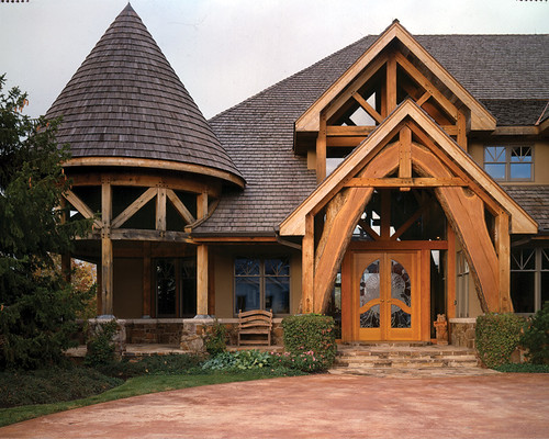 four suns timber frame home front entry