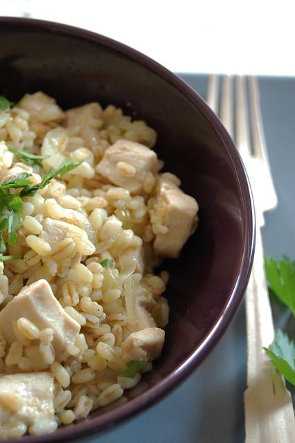 Orzo con cipollotti e pollo al curry