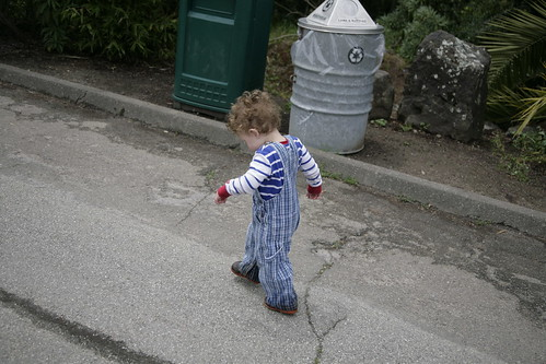 Walking on his own.