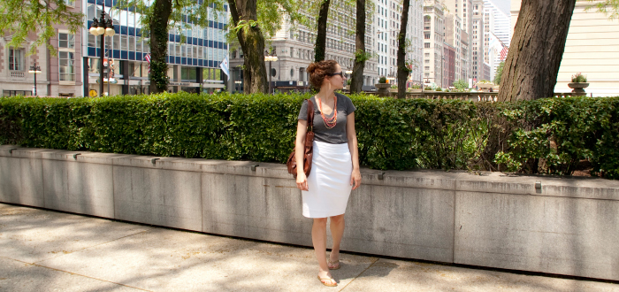 white pencil skirt club monaco gray v-neck tee beads orange flip flops flippityflops gold spring chicago dash dot dotty dashdotdotty style blog