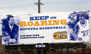 A Hofstra billboard on the L.I.E. near Woodhaven Blvd. Courtesy of Hofstra Athletic Communications.