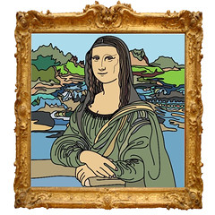 Mona Lisa (☁☂It's Raining, It's Pouring☂☁) Tags: adultcolouringbook monalisa painting oil oldmaster leonarddavinci famous frame photoshop