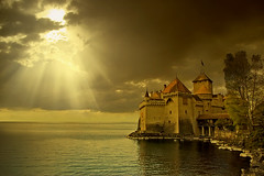 Montreux Wallpaper (shardox) Tags: wallpaper sun lake castle sol clouds lago switzerland suiza nubes rays chillon svizzera leman castillo montreux rayos chateaudechillon mywinners colorphotoaward colorsofthesoul obramaestra