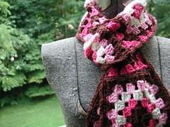 Buckster's Pink Granny Square Scarf