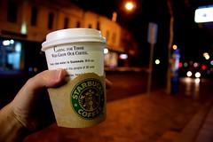Starbuck (a.lex) Tags: city cup coffee night dof bokeh brisbane starbucks latte chai