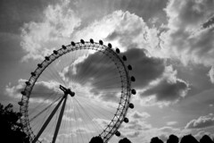 Look with your eyes (Alasdair Thompson) Tags: blackandwhite bw london wheel silhouette clouds geotagged londoneye ferris geo:lat=51503717 geo:lon=0117634