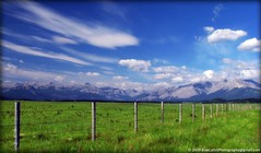 ...Big skies, Big fields, Big mountains. (westrock-bob) Tags: old blue summer sky white canada mountains grass fence big wire highway skies wind rocky bob windy ab canadian pasture alberta fields barb posts barbed 2009 1a rugged allrightsreserved westrock canadien paddock kanada exshaw kanata cuthill westrockbob vosplusbellesphotos bobcuthillphotographygmailcom