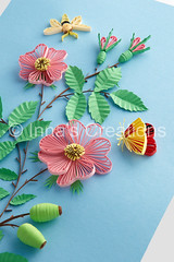 Dog-rose. Paper filigree (Inna's Creations) Tags: flowers roses flower rose butterfly bug paper handmade crafts moth insects hips decor rosehips dogrose   filigree quilling