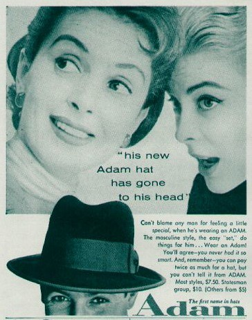 Adam Hats ad 1955