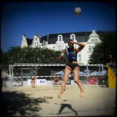 Caught in the air (manganite) Tags: blue girls summer people woman black blur hot color colors girl fashion sport digital photoshop germany dark square de geotagged iso100 cool blurry nikon women colorful europe bonn seasons tl framed candid vivid sunny blurred beachvolleyball frame highsaturation cropped d200 activity f56 nikkor dslr vignette lightroom sportswear mnsterplatz northrhinewestphalia structured nikond200 18200mmf3556 manganite colorefexpro filterforge repost1 date:month=august date:day=15 1750sec date:year=2009 format:orientation=square format:ratio=11 1750secatf56 smartbeachtourbonn2009 geo:lat=50734265 geo:lon=7098922