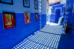 Morocco-090601-113 (Kelly Cheng) Tags: africa street travel color colour building heritage tourism sunshine horizontal architecture painting landscape daylight alley colorful day doors village outdoor culture vivid sunny nobody nopeople morocco lane medina chaouen colourful copyspace chefchaouen traveldestinations rifmountains pickbykc