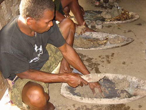 Chopping kava root, Asanvari, Maevo Island