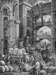 Workers at a London Warehouse (Sean Fanning Designs) Tags: uk england people men london illustration wagon europe many fineart group working visualarts warehouse container vehicle males prints british laborer adults pulley employee loading urbanscenes europeans bookillustration engravings europeanperiodorstyle intaglioprints transferprints westerneuropeanperiodorstyle occupations unloading frenchperiodorstyle storagefacility gustavedore victorianperiodorstyle warehouseworker engravingofworkersatalondonwarehousebygustavedore