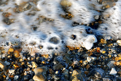 incoming tide (gallyslave) Tags: sea white seascape beach home water droplets seaside sand surf patterns pebbles isleofwight beaches wight appley