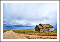Along the Road (Dances With Light) Tags: vanishingpoint colorado schoolhouse oldwood longroad fenceline greyskies southerncolorado huerfanocounty superaplus aplusphoto