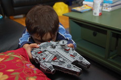 Lego Millennium Falcon comes in for a landing (Chris Devers) Tags: ma toy starwars model lego massachusetts millennium lucas somerville falcon spaceship somervillema chewie 2009 chewbacca hansolo empirestrikesback returnofthejedi georgelucas anewhope millenniumfalcon milenniumfalcon cameranikond50 starwarsanewhope exif:exposure_bias=0ev exif:exposure=0017sec160 exif:focal_length=27mm legomillenniumfalcon lens18200vr starwarsreturnofthejedi starwarstheempirestrikesback exif:aperture=f40 camera:make=nikoncorporation exif:flash=autofiredreturndetected camera:model=nikond50 meta:exif=1257921409 flickrstats:favorites=1 exif:orientation=horizontalnormal exif:lens=18200mmf3556 exif:filename=dscjpg exif:vari_program=auto exif:shutter_count=35864 meta:exif=1350401366