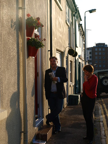 Ed Balls and Nancy Platts on the doorstep.