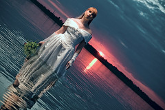 lovinlake (vd.Bruck) Tags: blue wedding sunset red portrait sky sun white love wet girl clouds trash germany hair bride nikon dress leipzig portraiture wife hochzeit nass d300 braut wetlook brautkleid sb800 trauung strobist su800 trashthedress