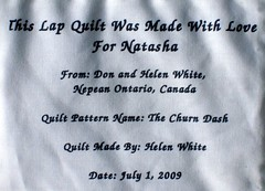 Label From Natasha's Quilt
