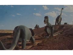 Antique postcard: Dinosaur Park, Rapid City, South Dakota (Baltimore Bob) Tags: park old statue southdakota dinosaur antique postcard dinosaurs
