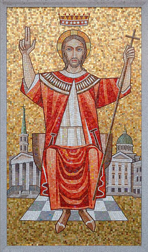 Mosaic of Christ the King, at Resurrection Cemetery, in Shrewsbury, Missouri, USA
