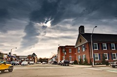 Downtown Dedham Center in Fusion exposure (Paul Broderick) Tags: clouds downtown colonial courthouse dedhammassachusetts lawoffice nikond90 lightroom2 photomatixexposurefusion dedhamcenter