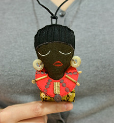 African Neck lace doll, at Hanahou gallery, Luv-able&Hug-able 2009 (Eloole) Tags: necklace doll african brooch felt plush hanahou