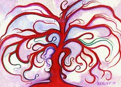 Red Tree 12/18/09 (ninakuriloff) Tags: red tree clouds painting surreal fantasy gouache inthemood opaquewatercolor