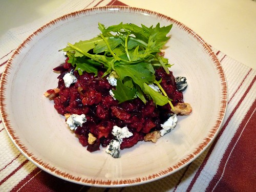 Beetroot risotto with goats cheese and walnuts