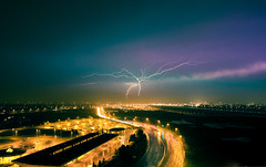 lightning, strike. (tomms) Tags: longexposure light toronto storm lights strike veins lightning electrical thunder downsview