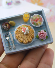 Breakfast Tray (Shay Aaron) Tags: food rose dessert lunch miniature handmade teal mini whippedcream polymerclay fimo tiny donut pear romantic orangejuice fruitsalad 12th 112 belgianwaffle dollhouse petit breakfastinbed oneinchscale shayaaron