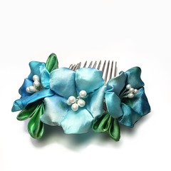 Morning Glory Hand dyed blue (Bright Wish Kanzashi) Tags: blue flower green hair turquoise glory ornate morningglory hairpin accessory asagao hairornament    hanatsukuri
