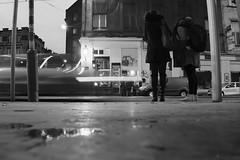 Speed Of Light Limo (Ren-s) Tags: bruxelles brussels belgique belgium europe night nuit rue street photographiederue streetphotography people personnes piétons pedestrians car voiture filé vitesse light lumière speed lampost poteau trottoire sidewalk city citycenter ville centreville flaque puddle eau water rain pluie