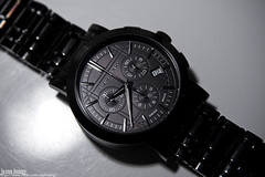 black swiss steel watch mens chronograph stainless burberry
