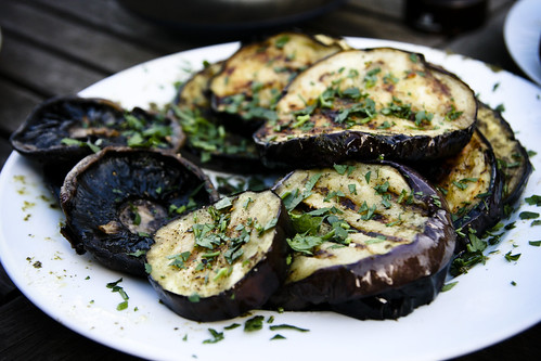 Grilled Eggplant and Mushrooms