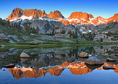 Sunrise at Ediza Lake (Rob Kroenert) Tags: california morning light usa mountain lake snow forest sunrise landscape dawn us high adams nevada first sierra national wilderness sierras minarets anseladamswilderness ansel inyo ediza edizalake