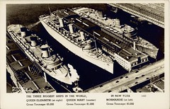 The three largest ships in the world, New York, 1940 / photographic postcard