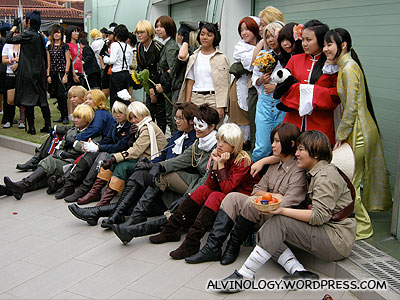 A large group of cosplay friends
