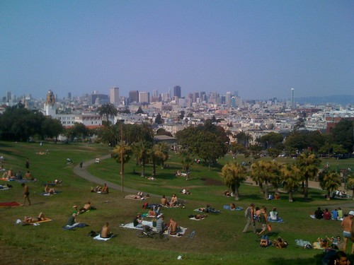 Top of Dolores Park, looking towards downtown